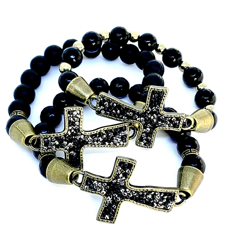 Onyx and Bronze Cross Bracelet
