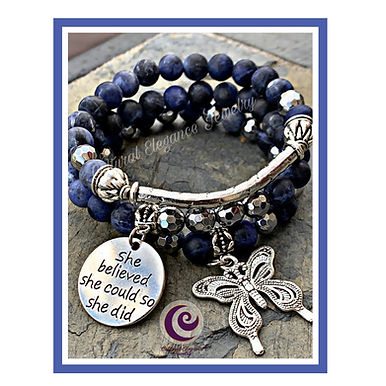 "Sodalite ""She Believed She Could"" Bracelet Set"