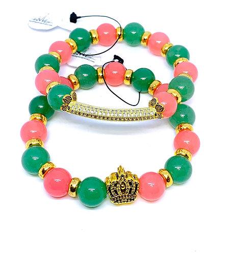 "Rose Quartz and Jade ""Crown and Bar"" Bracelet Set"