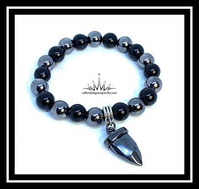 Onyx and Hematite Arrow Bracelet 10mm