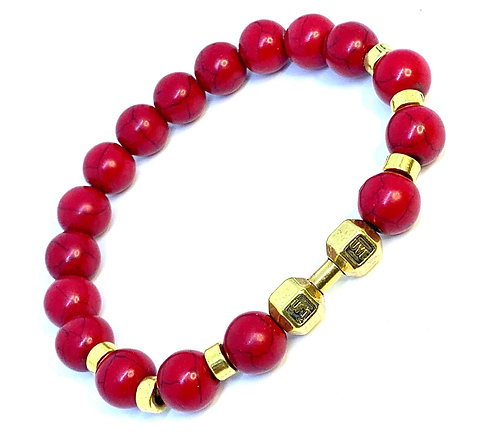 """Red Howlite """"Dumbbell"""" Bracelet"""