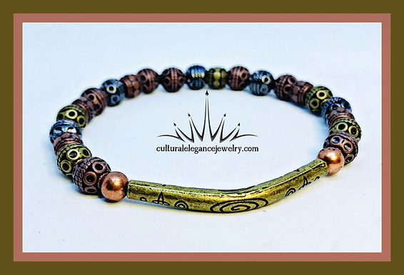Multi-colored Metal w/Bronze Bar Bracelet