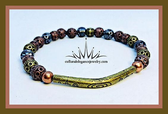Multi-colored Metal w/Bronze Bar Bracelet