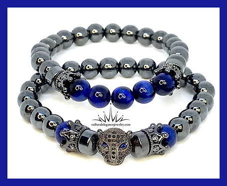 Hematite and Blue Tiger's Eye Panther Bracelet Set
