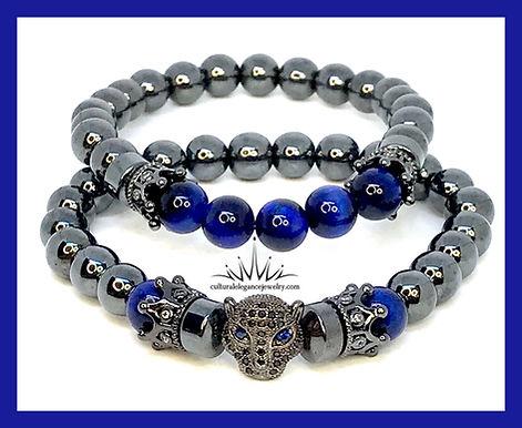 Hematite and Blue Tiger's Eye Panther Bracelet Set