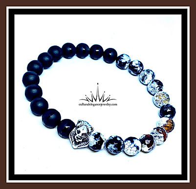 White/Orange/Black Agate and Onyx Lion Bracelet