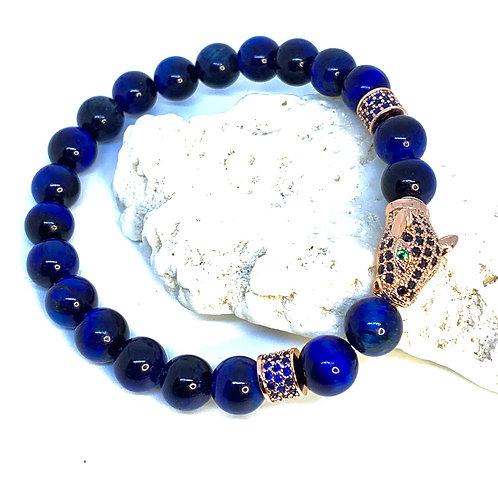 Blue Tiger's Eye Panther Bracelet w/Rose Gold