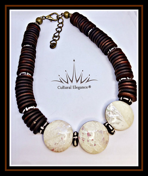 Wood Disk, Bone and Horn Necklace