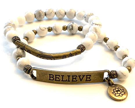 "White Howlite ""Believe""Bracelet Set"