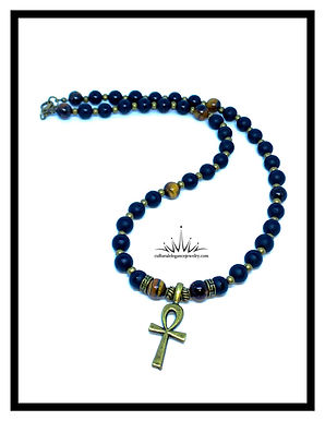 Onyx and Tiger's Eye Ankh Necklace