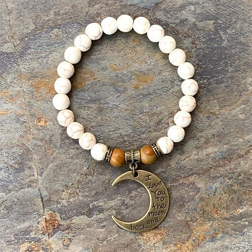 "White Howlite & Petrified Wood ""Moon and Back"" Bracelet"