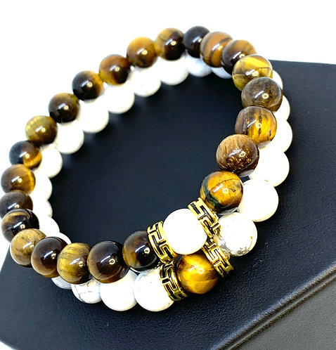 Couples Bracelets (Tigers Eye and Howlite)