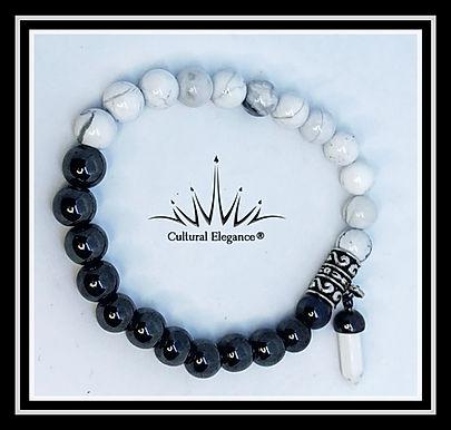 White Howlite and Hematite Bracelet w/Bullet