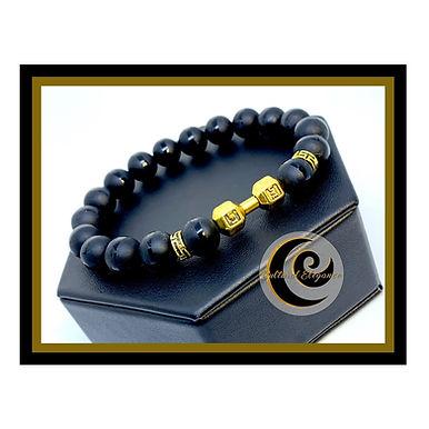 """Onyx """"Barbell"""" Bracelet (Gold)"""
