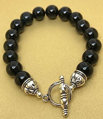 Obsidian Bracelet w/Silver Clasp Closure