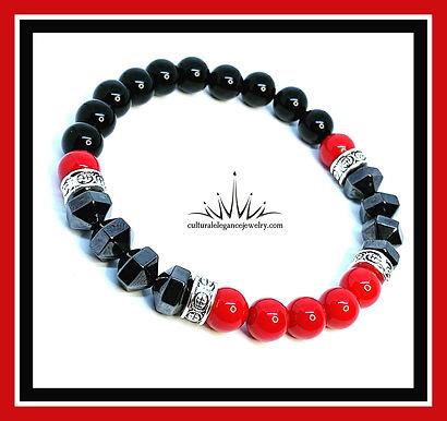 Red, Black and Magnetic Hematite Bracelet