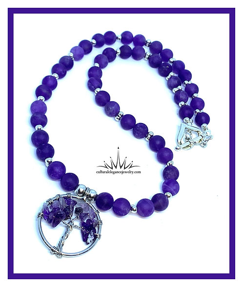 "Amethyst ""Tree of Life"" Necklace w/Heart Clasp"