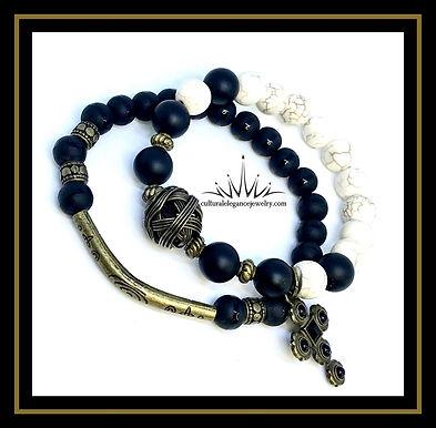 Onyx and White Howlite Bracelet Set w/Cross