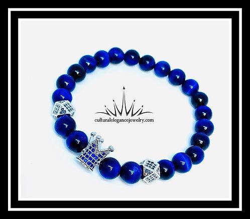 Blue Tiger's Eye King Crown Bracelet