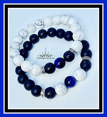 Howlite/Onyx/Blue Tiger's Eye Couples Bracelet Set