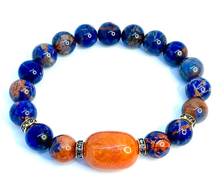 Orange Sodalite and Carnelian Bracelet