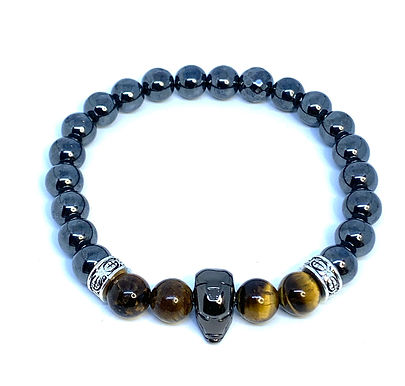 "Hematite and Tiger's Eye ""Iron Man"" Bracelet"