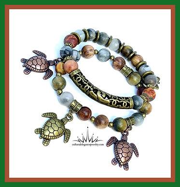 Earth Stone Multicolored Jasper Turtle Bracelet Set