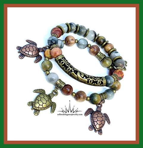Earth Stone Multicolored Jasper Turtle Bracelet Set