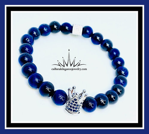 Blue Tiger's Eye King Crown Bracelet