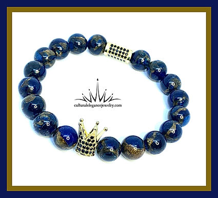 "Blue and Gold Quartz ""King"" Bracelet"