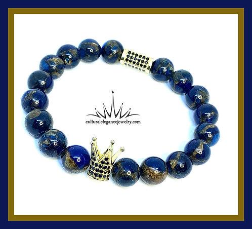 "Blue and Gold Quartz ""King"" Bracelet"