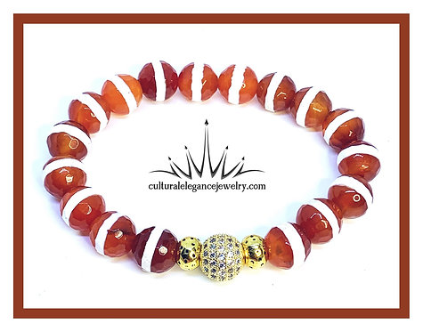 Red Orange Agate Stripe w/Cz Ball