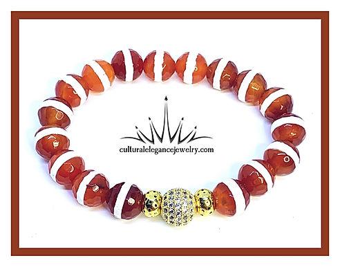 Red Orange Agate Stripe w/Cz Ball
