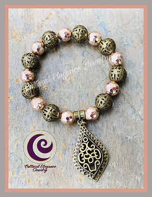 Rose Hematite w/Bronze Filigree Accents