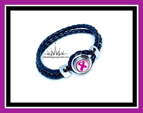 Leather Breast Cancer Awareness Bracelet
