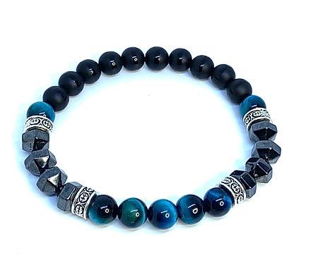 Turquoise Blue Tiger's E ye/Onyx/Hematite Bracelet