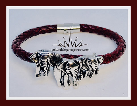 Elephant Leather Braided Bracelet (Wine)
