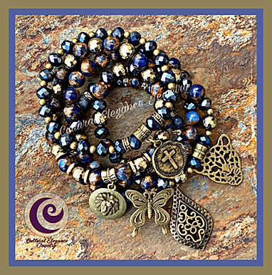 Orange and Blue Sodalite w/Bronze Hematite Bracelet Set