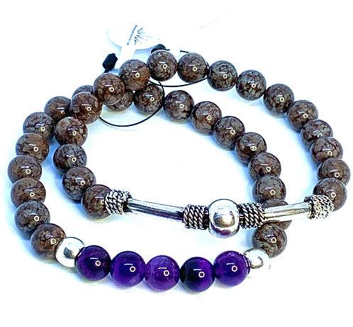 Bronzite and Amethyst Bracelet Set