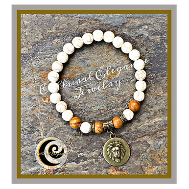 "White Howlite & Petrified Wood ""Lion"" Bracelet"