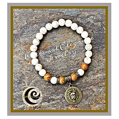 "White Howlite & Petrified Wood ""Lion"" Bracelet"