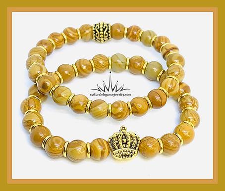 Queen Crown Natural Wood Grain Gemstone Bracelet Set