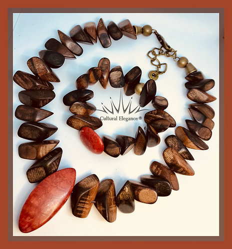 Wood and Jasper Necklace and Bracelet Set