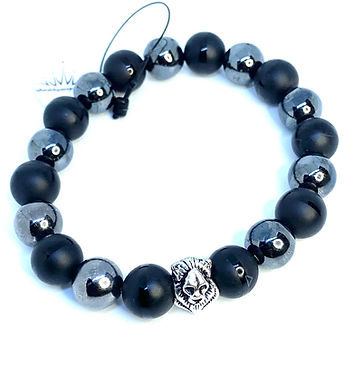 Black Agate and Hematite Lion Bracelet