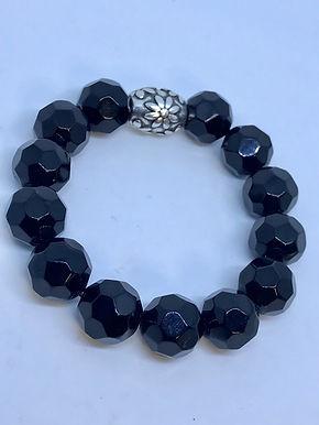 Black Acrylic Faceted Bracelet
