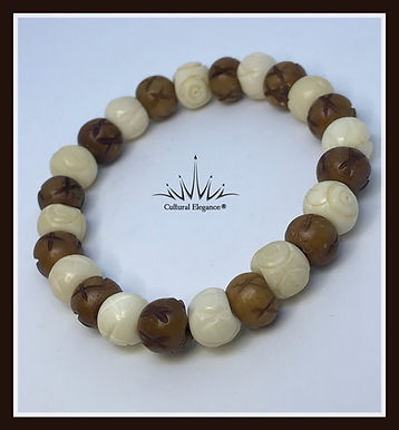 Brown/Ivory Flower Etched Bracelet