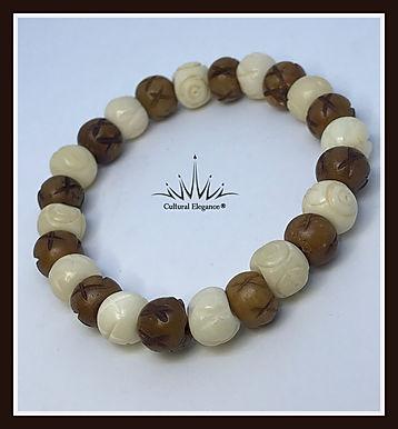 Brown/Ivory Flower Etched Bracelet