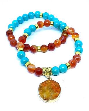 Orange Druzy Stone Bracelet