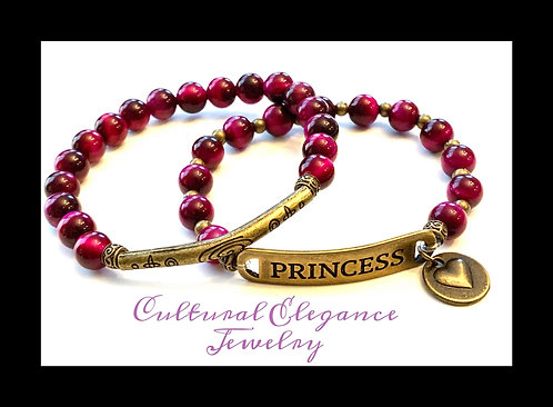 "Fuschia Tiger's Eye ""Princess"" Bracelet Set"