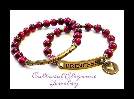 """Fuschia Tiger's Eye """"Princess"""" Bracelet Set"""